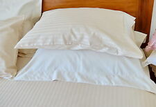1000TC Cotton Fitted Sheet Set Ivory Stripe NaturaHome