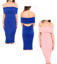 New Womens Ladies Bardot Off Shoulder Back Cut Out Bodycon Party Midi Dress