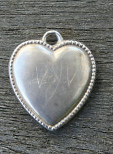 VINTAGE STERLING SILVER PUFFY HEART CHARM - Repousse Beaded Border & Engraving