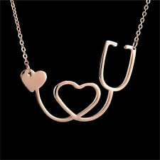 New Medical Stethoscope Heart Collar Necklace Stainless Steel Rose Gold  SN