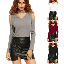 Hot Sexy Womens V Neck Off Shoulder Long Sleeve Loose T Shirt Casual Blouse Tops