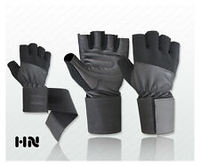 GYM PADDED LEATHER WEIGHT LIFTING GLOVES FITNESS SPORTS TRAINING WIDE LONG STRAP