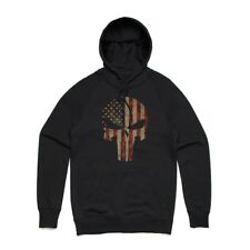 Fifty5 Clothing American Flag Punisher Skull Pullover Hoodie