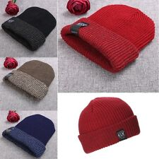 Unisex Women Men Fashion New Stretch Knit Hat Beanie Double Cuffed Hat Ski Skate