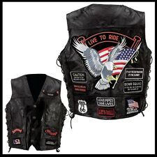 "vest leather big size "" eagle / Live To Ride "" Biker , custom , eagle vest"