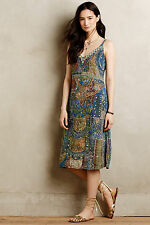 Anthropologie Sennen Beaded Silk Dress Sz 6, Printed Bohemian Slip, Leifsdottir