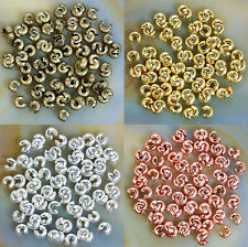 Lots 4MM 100/200 Pcs Silver Golden End Crimp Beads Knot Covers Finding Wholesale