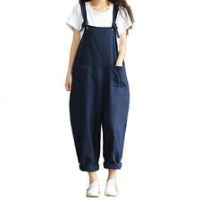 Womens Casual Strap Dungaree Jumpsuits Overalls Long Trousers Harem Pants SP