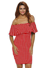 Blue/Red White Striped Off-shoulder Summer Short Sleeve Bodycon mini shirt Dress