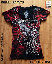 Rebel Saints by Affliction Womens Black T-Shirt Embellished MEDIUM NWOT