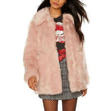 Fashion Women Winter Faux Fur Furry Warm Jacket Parka Trench Coat Outerwear