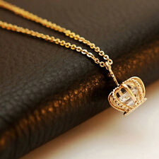 Charm Gold/Silver Plated Crown Zircon Clavicle Chain Pendant Necklace Jewelry