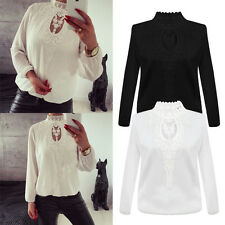 Women Casual Chiffon Patchwork Lace Band Collar Long Sleeve Blouse Shirt Tops