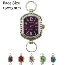 Ladies Geneva Colored Face With Matching Stones Beading Watch Faces 19x23mm