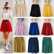 Elegant Women High Waist Pleated Double Layer Chiffon Short Mini Skirts Dress