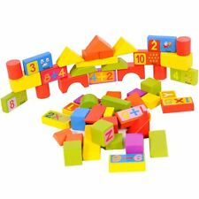 100 PC WOODEN CONSTRUCTION BUILDING BLOCKS BRICKS TOY GIFT BOX KID CHILDREN BABY