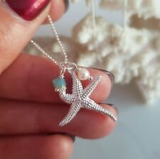 DESIGNER STERLING SILVER BIRTHSTONE NECKLACE 925 STAR PENDANT  PERSONALISED GIFT