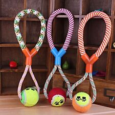 Dog Pet Puppy Toy Cotton Braided Ball Bone Rope Chew Knot Dental Teeth Clean Toy
