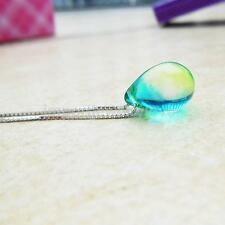 Mermaid Water Droplet Glass Pendant Necklace Silver Chain Womens Fashion Jewelry