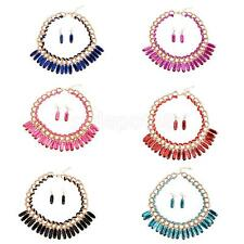 Women's Stylish MultiDroplets Necklace Earrings Fashion Party Jewelry Set 6color