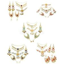 Ladies Belly Dance Bridal Costume Necklace Earrings Headpiece Hand Jewelry Set