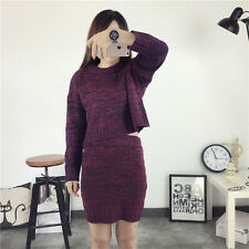 Women Sweater Skirt Spring Autumn Tops+Short Skirts Slim Knitted Suit Twinset