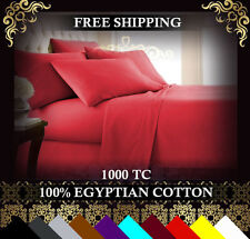 1000TC EGYPTIAN COTTON 4 Piece Bed Fitted,Flat Sheet+Pillowcase Set All Aus Size