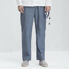 Mens Ninth Pencil Pants Trousers 100% Linen Chinese Traditional Style Blue Nakal