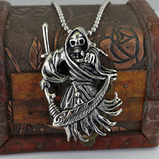 Mens Punk Skull Death Bull Head Stainless Steel Pendant Chain Necklace Gothic
