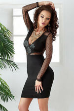 Mesh Inserts Short Dress with Polka Dots women new style long sleeve