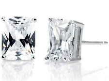 925 Sterling Silver Emerald Cut Clear CZ Rectangle Post Stud Solitaire Earrings