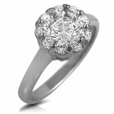 White Cubic Zirconia Round Cut Engagement Bridal Ring W/ Accents Rhodium Plated