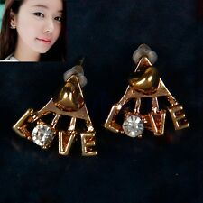 Korean Fashion Shiny Rhinestone Earrings Delicate Letters LOVE Stud Earrings TW