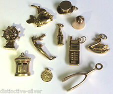 Modern & Vintage 375 9ct Gold Charms for Charm Bracelet - Choose your Charm