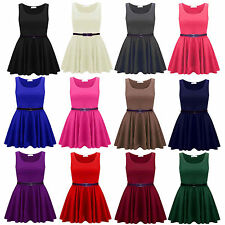 Womens Ladies Sleeveless Pleated Belted Flared Franki Skater Dress Top Plus Size