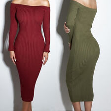New Sexy Womens Off Shoulder Bandeau Knit Sweater Dress Slim Long Party Dress