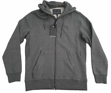 MENS VOI ZIP UP HOODED TOP SWEATSHIRT STYLE CARTEL - DARK GREY
