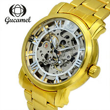 Mens Skeleton Automatic Mechanical Stainless Steel Leather Wrist Watch Luxury