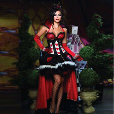 Ladies Red Queen of Hearts Costume Fancy Dress Up Alice In Wonderland Hen Party