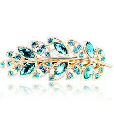 Girls Hairpin Leaf Crystal Rhinestone Barrette Hair Clip Headband Accessorie