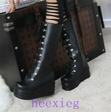 Lady punk black or white color knee high boots platform gothic shoes size 2.5-7.