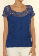 Ella Moss Hailee Crochet Lace Top Royal Blue Short Sleeve Size M/L NWT $148