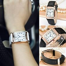 Men Women New Quartz Analog Leather Band Wrist Watch Square Dial