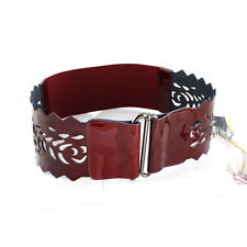 Women Ivy Perforated Genuine Patent Leather Wide Stretch Elastic Belt C192
