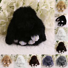 6 inch Cute Fluffy Bunny Rabbit Key Chain Ring For Phone Bag Lucky Pendant DS