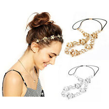 Gold/Silver Jewelry Metal Pearl Flower Head Chain Headband Women Hair Band