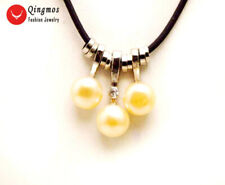 """7-8mm Flat Round natural Pink pearl Pendant and leather 17-19"""" necklace-nec6183"""