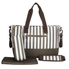 3Pcs Multifunctional Mummy Bag Striped Handbag Diaper Nappy Changing Bags Set