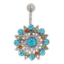 Dangle Belly Bar Reverse Crystal Body Piercing Jewellery Belly Bars Navel Rings