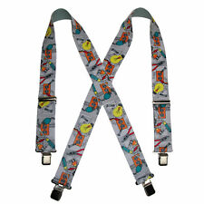New CTM Men's Elastic Clip-End 2 Inch Tradesman Work Suspenders